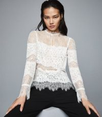 REISS JIANNI LACE BLOUSE IVORY ~ semi sheer blouses ~ feminine look clothing