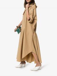 Jil Sander Brown Ruffle Collar Maxi Dress