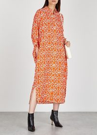 JIL SANDER Lance orange printed shirt dress ~ stylish and elegant loose fitting clothing
