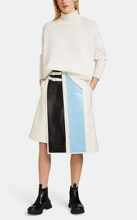 JIL SANDER Layered Mixed-Media Skirt ~ stylish asymmetric skirts