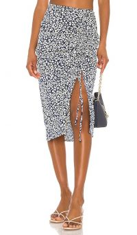 J.O.A. Ruched Skirt in Navy Animal / front split skirts