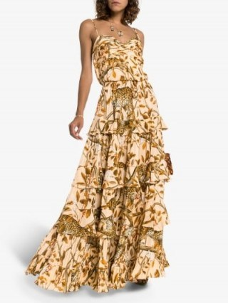 Johanna Ortiz All I've Ever Known Layered Dress in Brown / wild animal print maxi - flipped