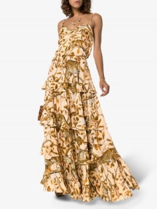 Johanna Ortiz All I've Ever Known Layered Dress in Brown / wild animal print maxi