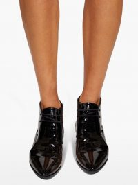 SAINT LAURENT Jonas black patent-leather ankle boots ~ high-shine booties