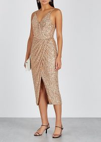 JONATHAN SIMKHAI Gold sequin midi dress ~ strappy wrap style event dresses