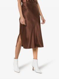 Joseph Brown Frances Slip Pencil Silk Skirt ~ silky side split skirts