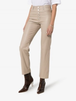 Joseph Coffee Den Buttoned Cropped Leather Trousers ~ luxe pants