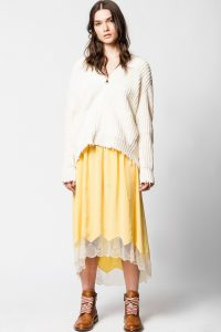 ZADIG & VOLTAIRE JOSLIN JAC GUITAR SKIRT | yellow lace trimmed skirts