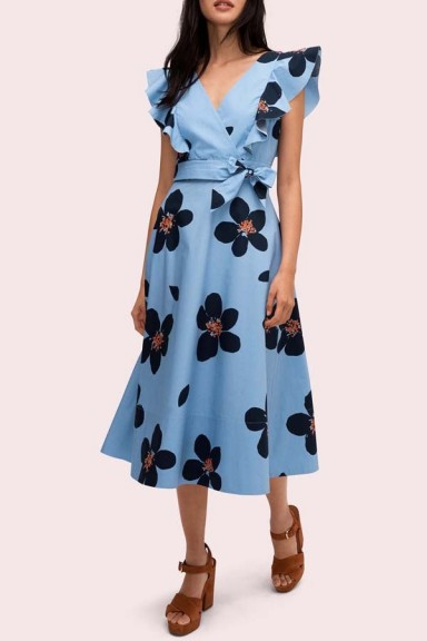 Kate Spade Grand Flora Poplin Midi Dress