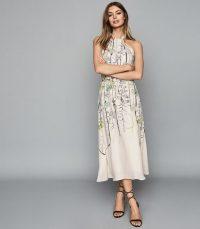 REISS KAYLA WATERCOLOUR FLORAL MIDI DRESS WHITE ~ summer event dresses