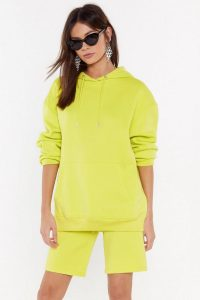 NASTY GAL Keep It Chill Oversized Hoodie – lime hooded sweat top