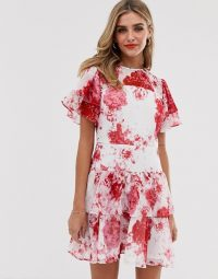 Keepsake enchanted floral mini dress in ivory rose floral ~ tiered party dresses