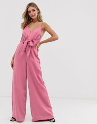 Keepsake restore tie waist wide-leg jumpsuit in pop pink ~ bright thin strap jumpsuits