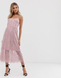 Keepsake sense lace midi dress with corset detail in rose ~ pink strappy dresses