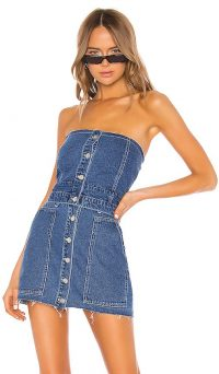 KENDALL + KYLIE Fashion Denim Bustier Medium Wash | blue strapless top