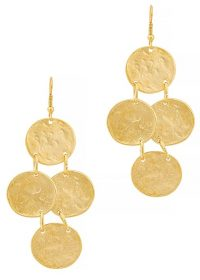 KENNETH JAY LANE Gold-tone coin drop earrings ~ hammered disc drops