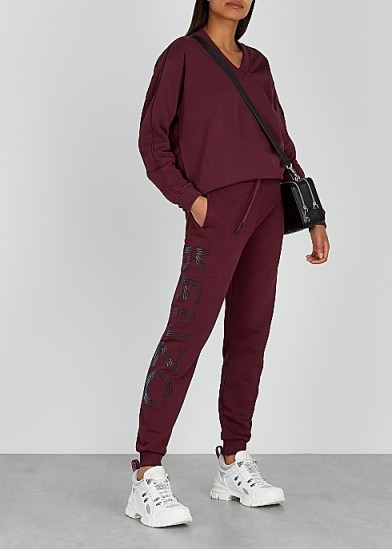 KENZO Bordeaux logo-appliquéd cotton sweatpants ~ luxe joggers