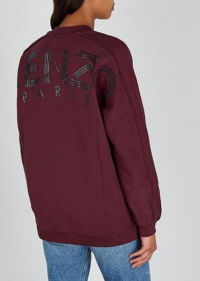 KENZO Bordeaux logo-appliquéd cotton sweatshirt ~ casual luxe sweat top