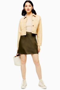 TOPSHOP Khaki Satin Bias Mini Skirt