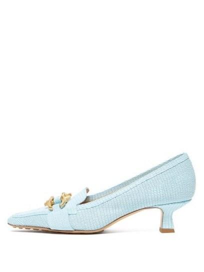 BOTTEGA VENETA Kitten-heel lizard-effect leather loafers in light-blue - flipped