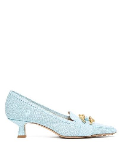 BOTTEGA VENETA Kitten-heel lizard-effect leather loafers in light-blue