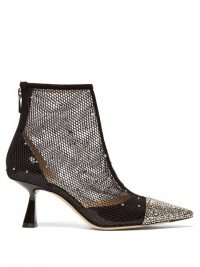 JIMMY CHOO Kix 65 crystal-embellished mesh ankle boots in black ~ luxe booties