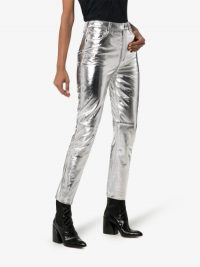 Ksubi Dreams High Waist Leather Trousers in Silver ~ silver pants