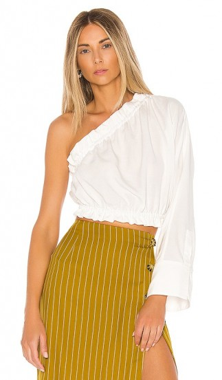 L'Academie The Emile Top in White | asymmetric one sleeve summer blouse