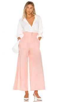 L'Academie The Marielle Pant in Pink | high waist wide leg trousers