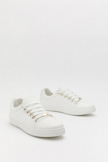 Nasty Gal Lace First D-ring Eyelet Sneakers in White