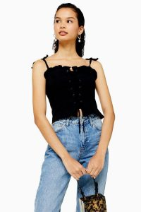 Topshop Lace Up Corset in Black | strappy shoulder tie tops