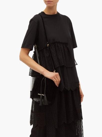 SIMONE ROCHA Black lace-panel cotton T-shirt ~ feminine tiered tee