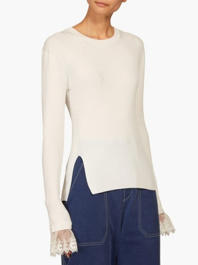 CHLOÉ Lace-trimmed ribbed top in ivory ~ luxe knitwear