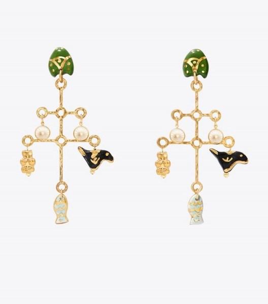 TORY BURCH LARGE CERAMIC CHARM EARRING ~ statement earrings - flipped
