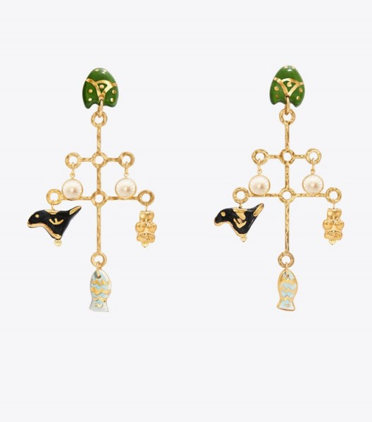 TORY BURCH LARGE CERAMIC CHARM EARRING ~ statement earrings