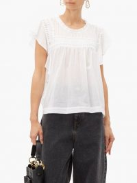 ISABEL MARANT ÉTOILE Layona folded ruffled cotton top in white ~ effortlessly feminine