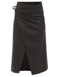 VETEMENTS Black Leather midi wrap skirt