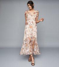 REISS LEILA BURNOUT FLORAL PRINTED MAXI DRESS PINK ~ semi sheer summer event dresses