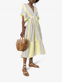 Lemlem Amira Plunge Neck Tiered Dress ~ yellow summer vacation dresses