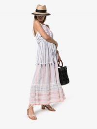 Lemlem Zehna Halterneck Maxi Dress ~ tiered feminine look sundress ~ vacation clothing