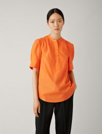 Joseph Lennox Silk Cotton Poplin Blouse in Carnelian ~ orange summer blouses ~ simple style
