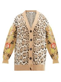 MSGM Leopard and floral-intarsia cardigan in beige ~ mixed pattern cardigans