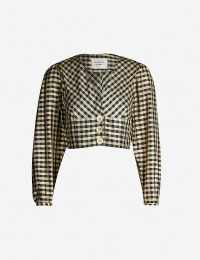 LES COYOTES DE PARIS Brune checked V-neck cropped silk top in gold vichy check