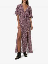 Les Reveries Pink Leopard Print Side Slit V-Neck Maxi Dress