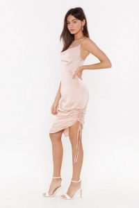 NASTY GAL Let It Satin Ruched Cowl Midi Dress in Blush – pink side gathered slip