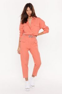 NASTY GAL Let's Make It Work Denim Belted Boilersuit in Coral ~ bright cropped leg boilersuits