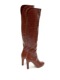 GABRIELA HEARST Linda crocodile-effect leather knee-high boots in dark-tan