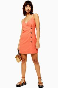 Topshop Linen Blend Button Mini Slip Dress in Coral | thin strap sundress