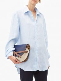 EMMA WILLIS Linen shirt in blue ~ curved hem shirts