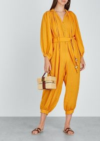 LISA MARIE FERNANDEZ Poet saffron linen-blend jumpsuit ~ chic vacation clothing ~ yellow crop leg jumpsuits